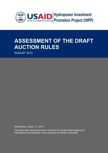 assessment of the draft auction rules - Hydropower Investment ...