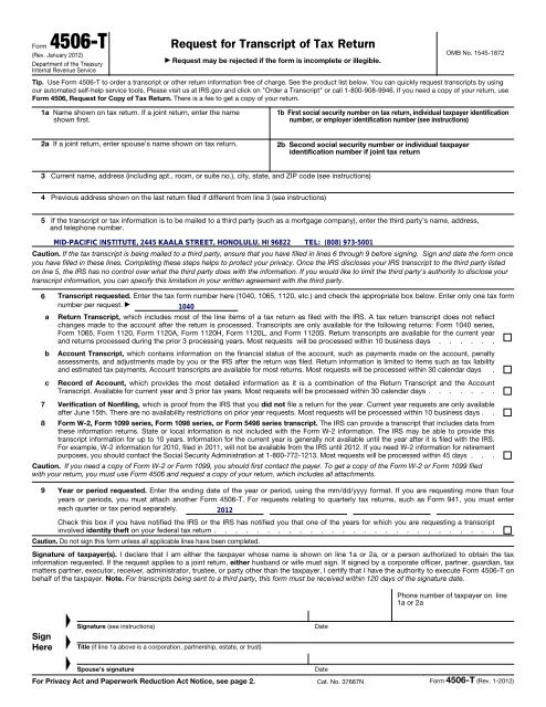 4506 t form for business  Form 12-T (Rev. January 12) - Mid-Pacific Institute