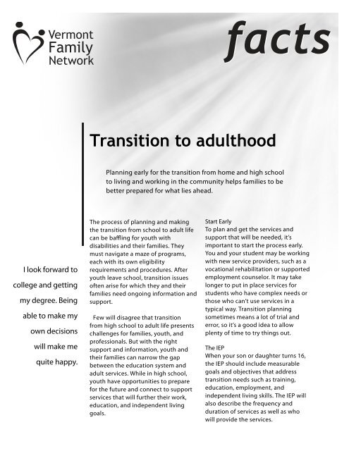 Transition to Adulthood Fact Sheet - Vermont Family Network