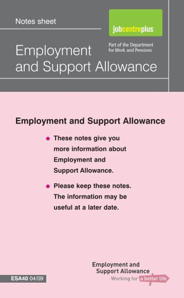 Employment and Support Allowance - Gov.uk
