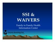 ssi & waivers - National Center for Family / Professional Partnerships