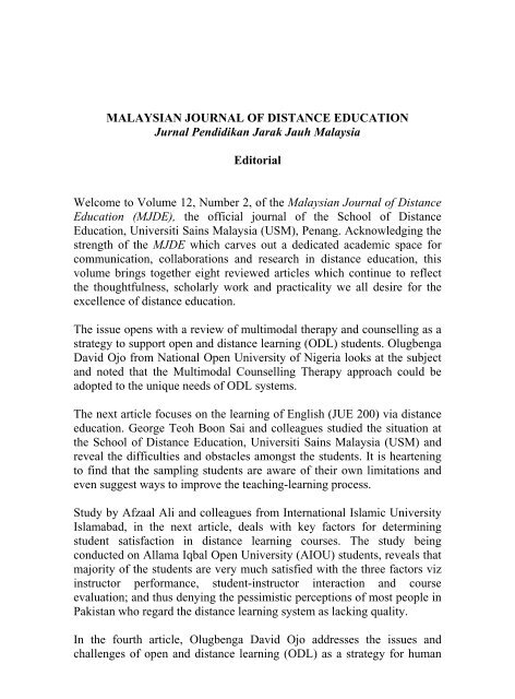 Full Text Malaysian Journal Of Distance Education Usm