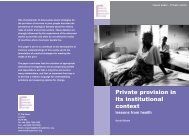 Private provision in its institutional context:lessons from health