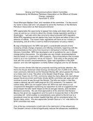 Impacts of Climate Change - Montana Petroleum Association