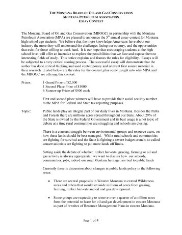 Page 1 of 4 The Montana Board of Oil and Gas Conservation ...