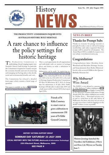 History News july 2005web.indd - Royal Historical Society of Victoria
