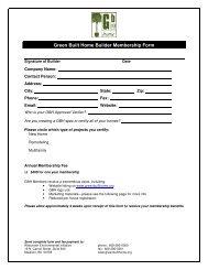 Green Built Home Builder Membership Form