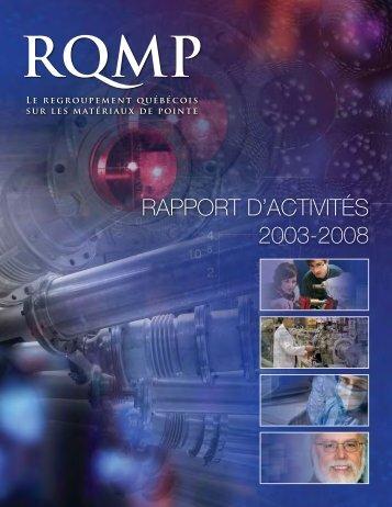 rapport d'activités 2003-2008 - RQMP
