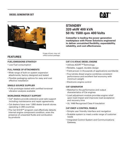 Hz To Rpm >> Standby 320 Ekw 400 Kva 50 Hz 1500 Rpm 400 Volts