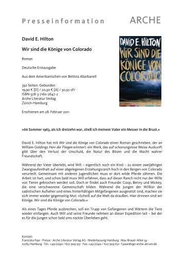 P r e s s e i n f o r m a t i o n - Arche Verlag