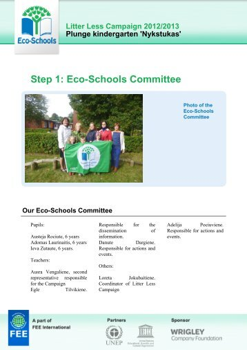Step 1: Eco-Schools Committee - Litter Less Campaign