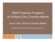 SNAP Incentive Programs at Portland - Sustainable Food Trade ...