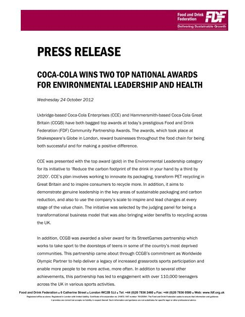 24Oct2012 Press release - Coca-Cola Enterprises