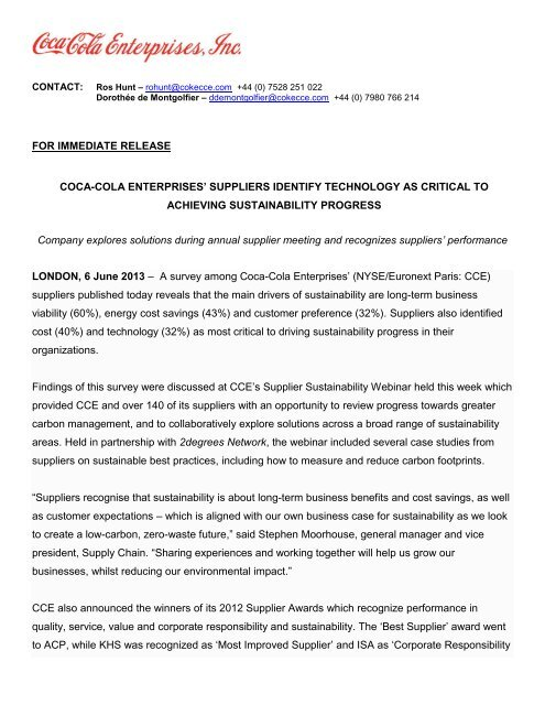 Press Release_CCE SUPPLIERS IDENTIFY TECHNOLOGY AS