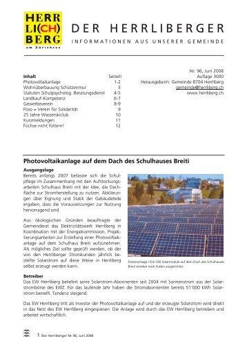 Herrliberger Nr. 096 Juni 2008 [PDF, 1.02 MB] - Gemeinde Herrliberg