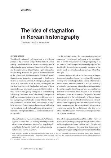 the idea of stagnation in Korean historiography - Korean Histories
