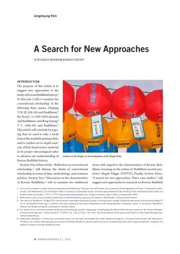 a searCH For neW aPProaCHes to researCH on - Korean Histories