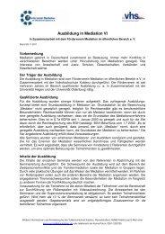 Ausbildung in Mediation VI - Förderverein Mediation im öffentlichen ...