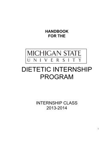 Dietetic Internship Program Document Nutrition Food Science And