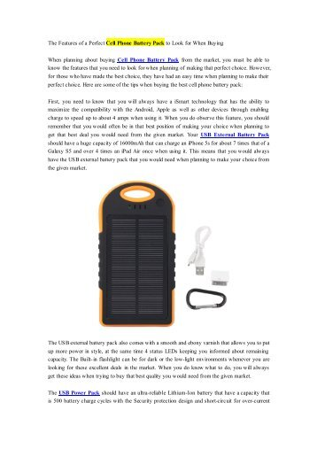 The Features of a Perfect Cell Phone Battery Pack to Look for When Buying.pdf