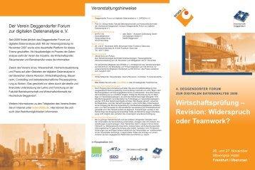 Wirtschaftsprüfung - Deggendorfer Forum zur digitalen Datenanalyse