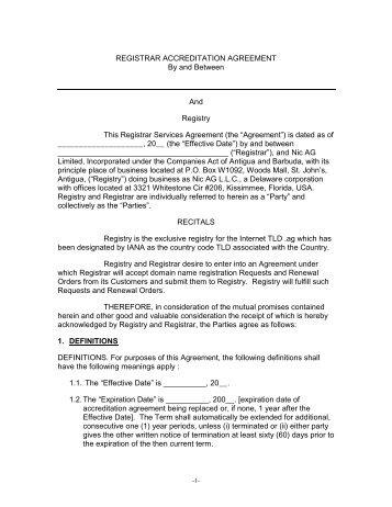 Registrar Accreditation Agreement Icann