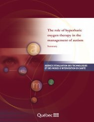 The role of hyperbaric oxygen therapy in the management ... - INESSS