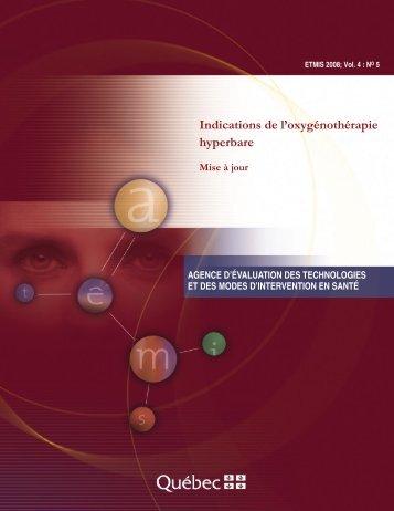 Indications de l'oxygénothérapie hyperbare : Mise à jour - INESSS