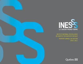 Le rapport annuel de gestion de l'Institut national d ... - INESSS