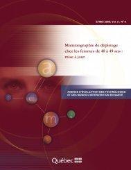 Mammographie de dépistage chez les femmes de 40 à 49 ... - INESSS