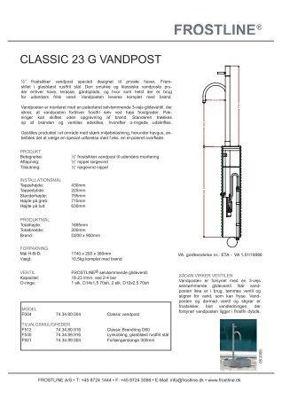 CLASSIC 23 G VANDPOST - Tengi