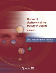 The use of electroconvulsive therapy in Quebec (summary) - INESSS