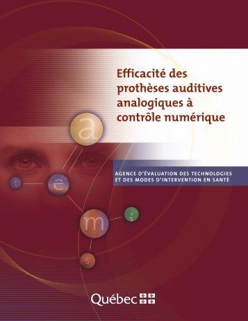 Efficacité des prothèses auditives analogiques à controle ... - INESSS