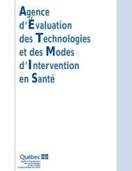 Agence d 'Évaluation des Technologies et des Modes d ... - INESSS