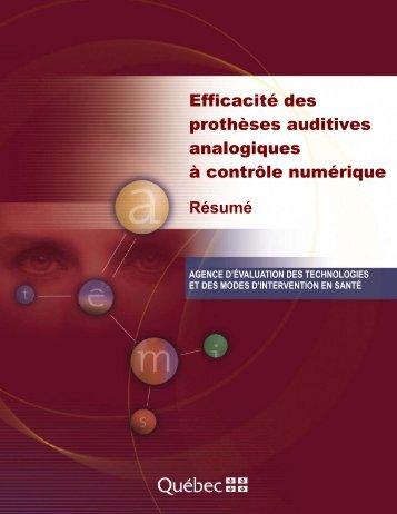 Efficacité des prothèses auditives analogiques à contrôle ... - INESSS