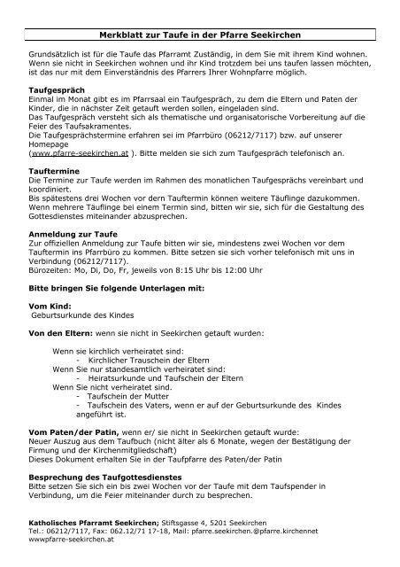 Merkblatt Zur Taufe Pfarre Seekirchen