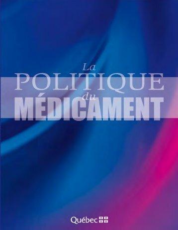 La politique du médicament - Gouvernement du Québec
