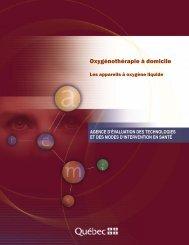 Oxygénothérapie à domicile : les appareils à oxygène ... - INESSS