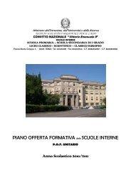 PIANO OFFERTA FORMATIVA delle SCUOLE INTERNE - Convitto ...