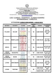 Calendario dei corsi di recupero attivati - Convitto Nazionale Vittorio ...
