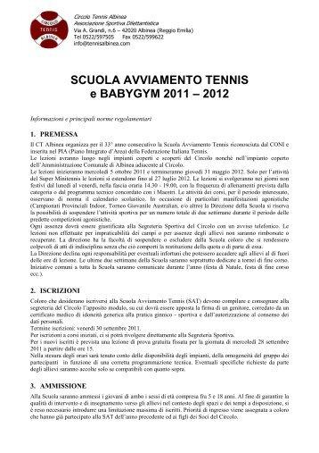 Regolamento-Scheda Iscrizione - Circolo Tennis Albinea