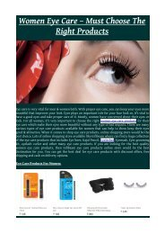 Women Eye Care – Must Choose The Right Products