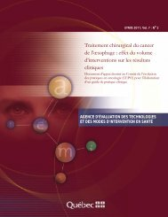 Traitement chirurgical du cancer de l'œsophage : effet du ... - INESSS