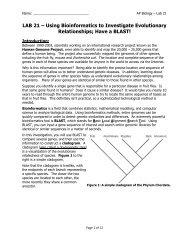 AP Lab 21 - Have a BLAST!