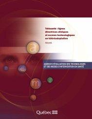 Télésanté : lignes directrices cliniques et normes ... - INESSS