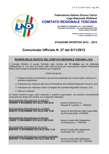 Comunicato Ufficiale N. 27 del 8/11/2012 COMITATO ... - Figc