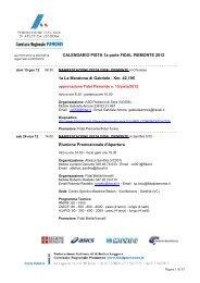 Calendario PISTA Fidal piemonte 2012 - Atletica Quadrifoglio