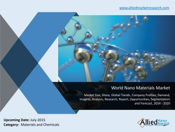 World Nano Materials Market Size, Share, Trends, Analysis, Opportunities and Forecasts, 2014 -2020