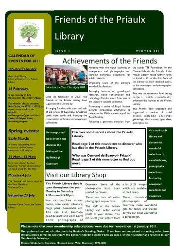 January 2011 – Newsletter - Friends of the Priaulx Library