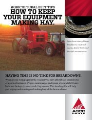 HOW TO KEEP YOUR EQUIPMENT MAKING HAY. - AGCO Parts